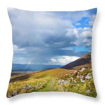Throw Pillow featuring the photograph Raining Down And Sunshine With Rainbow On The Countryside In Ire by Semmick Photo