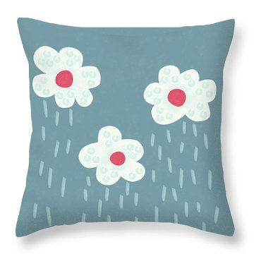 Raining Flowery Clouds Throw Pillow