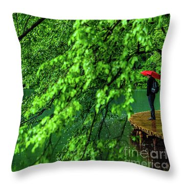 Raining Serenity - Plitvice Lakes National Park, Croatia Throw Pillow