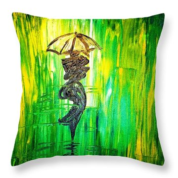 Throw Pillow featuring the painting Rainning Green by Piety Dsilva