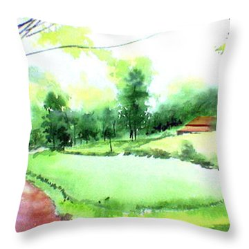Rains In West Throw Pillow by Anil Nene