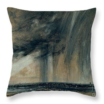 Rainstorm Over The Sea Throw Pillow by John Constable
