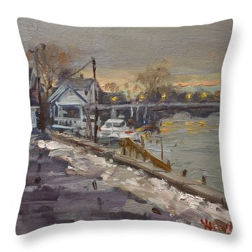 Rainy And Snowy Evening By Niagara River Throw Pillow