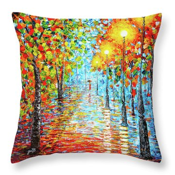 Throw Pillow featuring the painting Rainy Autumn Evening In The Park Acylic Palette Knife Painting by Georgeta Blanaru
