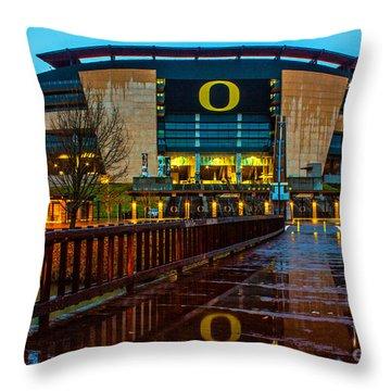 Rainy Autzen Stadium Throw Pillow