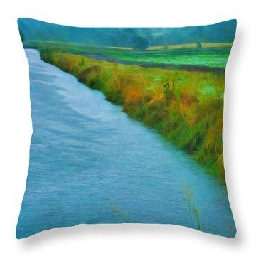 Rainy Canal Throw Pillow