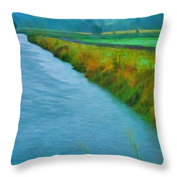 Rainy Canal Throw Pillow
