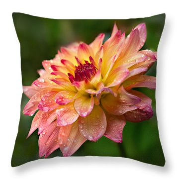 Rainy Dahlia Throw Pillow