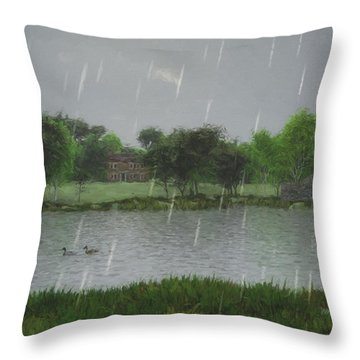 Throw Pillow featuring the digital art Rainy Day At The Lake by Jayne Wilson