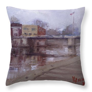 Rainy Day At Tonawanda Canal Throw Pillow