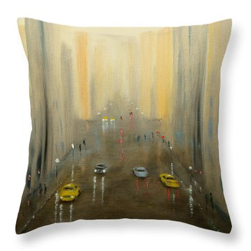 Rainy Day Cityscape Throw Pillow
