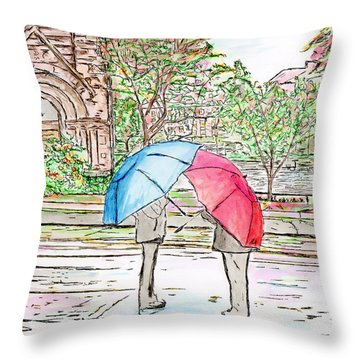Rainy Day In Downtown Worcester, Ma Throw Pillow