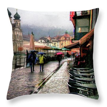 Rainy Day In Lucerne Throw Pillow by Jim Hill