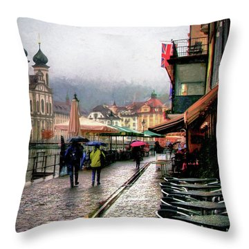 Rainy Day In Lucerne Throw Pillow