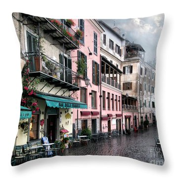 Rainy Day In Nemi. Italy Throw Pillow by Jennie Breeze