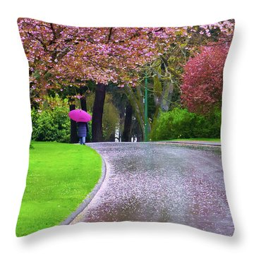 Rainy Day In The Park Throw Pillow