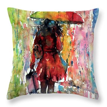Throw Pillow featuring the painting Rainy Day by Kovacs Anna Brigitta