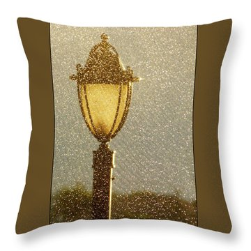 Rainy Day Lamp Post Throw Pillow by Geraldine Alexander