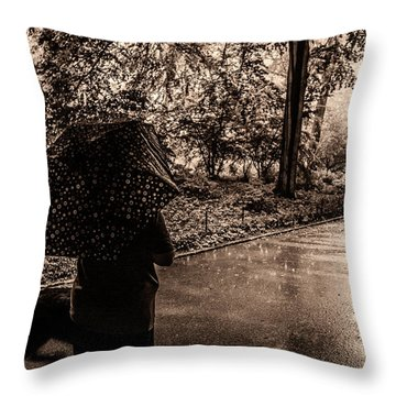 Throw Pillow featuring the photograph Rainy Day - Woman And Dog by Madeline Ellis