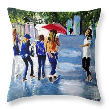 Throw Pillow featuring the painting Rainy Days And Mondays by Judy Kay