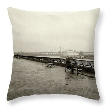 Throw Pillow featuring the photograph Rainy Days Sepia by Dave Beckerman