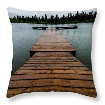 Throw Pillow featuring the photograph Rainy Dock by Darcy Michaelchuk