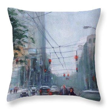 Rainy Downtown Dayton Day Throw Pillow