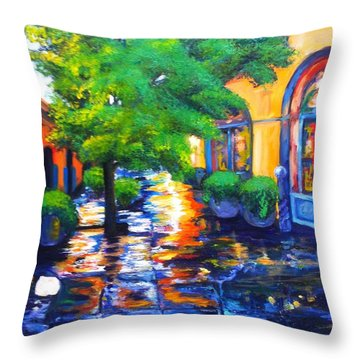 Rainy Dutch Alley Throw Pillow