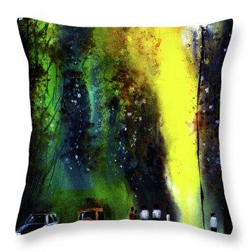 Rainy Evening Throw Pillow