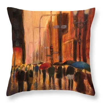 Rainy Evening Chicago Throw Pillow