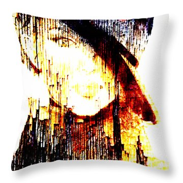 Rainy Female Portrait Throw Pillow