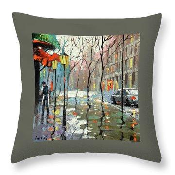 Rainy Landscape Throw Pillow