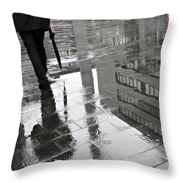 Rainy Morning In Mainz Throw Pillow