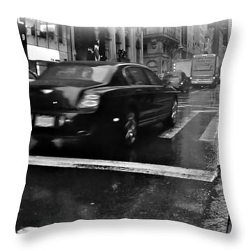 Rainy New York Day Throw Pillow by Vannetta Ferguson