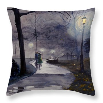 Rainy Night In Central Park Throw Pillow