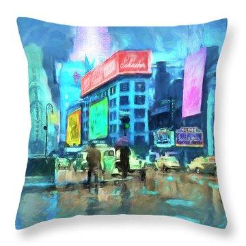 Rainy Night In New York Throw Pillow