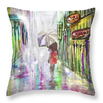 Rainy Paris Day Throw Pillow