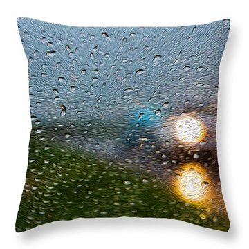 Rainy Ride Throw Pillow