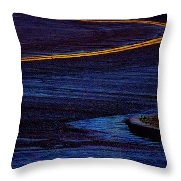 Rainy Road Blues Throw Pillow by Lin Haring