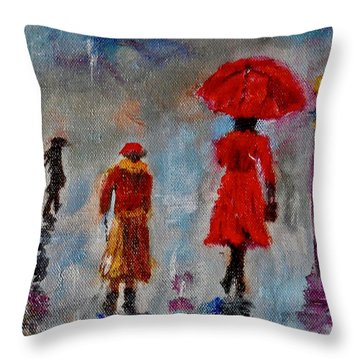 Throw Pillow featuring the painting Rainy Spring Day by Sher Nasser