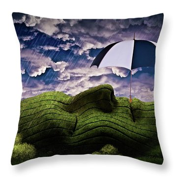 Rainy Summer Day Throw Pillow by Mihaela Pater
