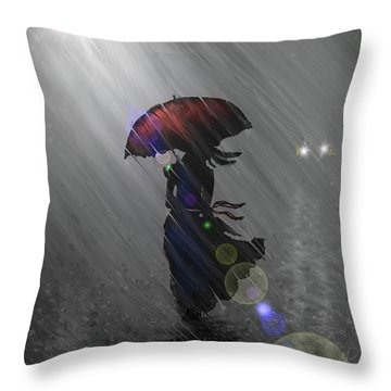 Throw Pillow featuring the digital art Rainy Walk by Darren Cannell