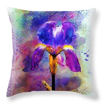 Rainy Weekend Iris Throw Pillow