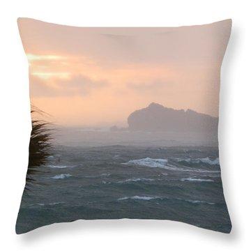 Rainy Xmas Sunrise Throw Pillow