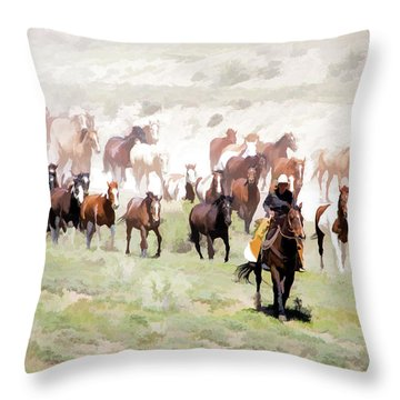 Raising Dust On The Great American Horse Drive In Maybell Colorado Throw Pillow