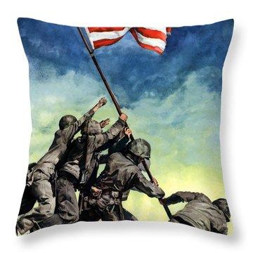 Raising The Flag On Iwo Jima Throw Pillow