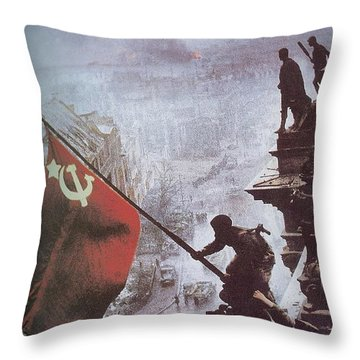 Raising The Soviet Flag  On The Reichstag Building Berlin Germany May 1945 Throw Pillow