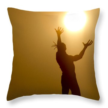Raising The Sun Throw Pillow