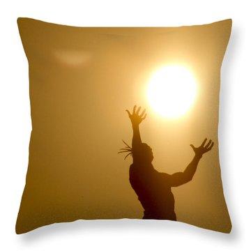 Raising The Sun Throw Pillow