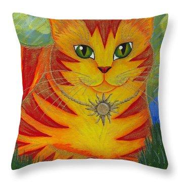 Rajah Golden Sun Cat Throw Pillow